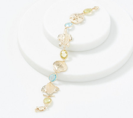 14k Gold Sea Life 6 3 4 Gemstone Bracelet