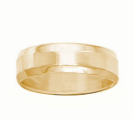 Men's 14K Yellow Gold 6mm Beveled Side WeddingBand