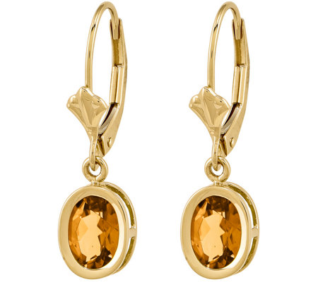 14K Oval Gemstone Leverback Earrings