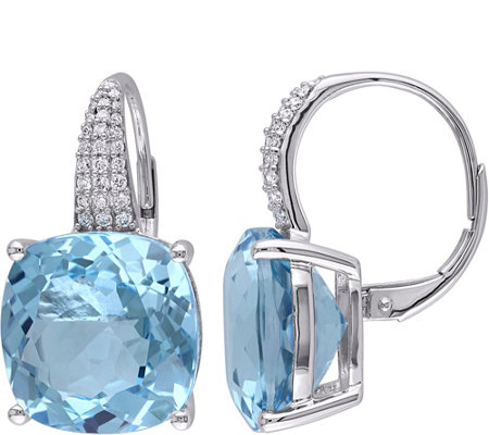 14K 23.25 cttw Sky Blue Topaz & 1/5 cttw Diamond Earrings