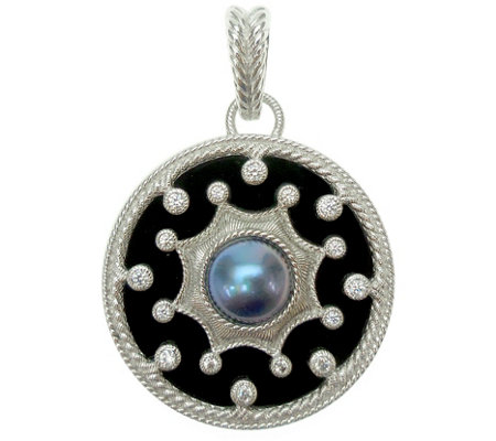 Judith Ripka Sterling Onyx & Cultured Mabe' Pearl Enhancer