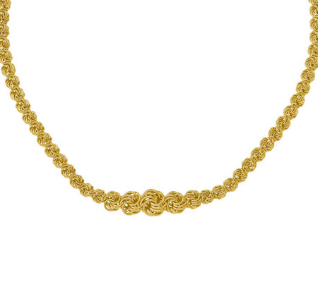 Italian Gold Rosette Link Graduated Necklace 14K, 11.1g