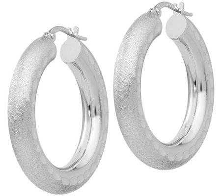 Italian Silver Satin & Diamond Cut Hoop Earrings Sterling