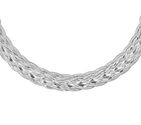 Italian Silver Braided Choker Necklace Sterling, 11.5g