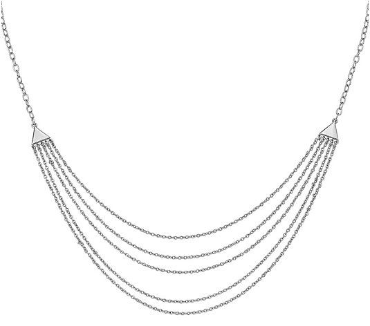 Sterling Multi-Strand Layered Necklace by Silver Style