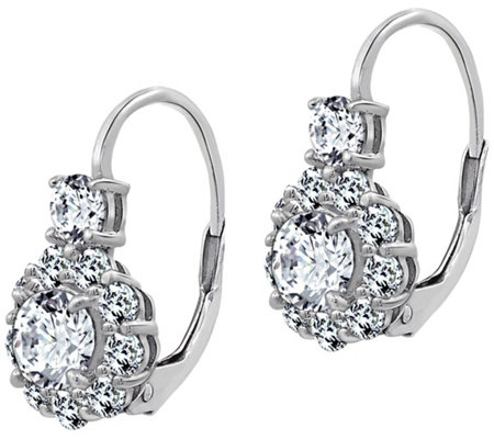 Diamonique 2.45 cttw Flower Earrings, PlatinumPlated