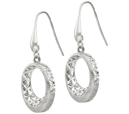 Italian Silver Diamond-Cut Round Disk Dangle Earrings