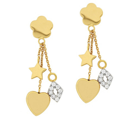 Affinity 14k 1 5 Cttw Diamond Motif Charm Dangle Earrings