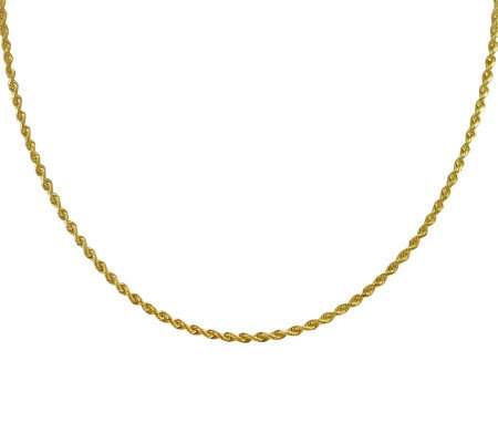 "EternaGold 18"" Solid Rope Chain Necklace, 14K Gold, 5.8g"