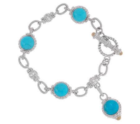 Judith Ripka Sterling Turquoise Cabochon Link Bracelet