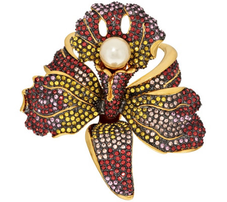 Joan Rivers Crystal Pave' Orchid Brooch