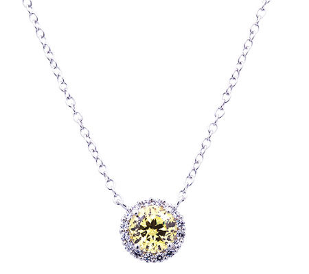 Diamonique 100-Facet Canary Halo Pendant, Platinum Clad