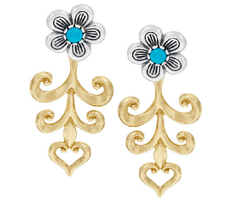 American West Sterling/Brass Turquoise Flower Earring Jackets