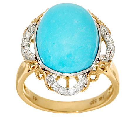 Sleeping Beauty Turquoise & Diamond Scroll Design Ring 14K Gold