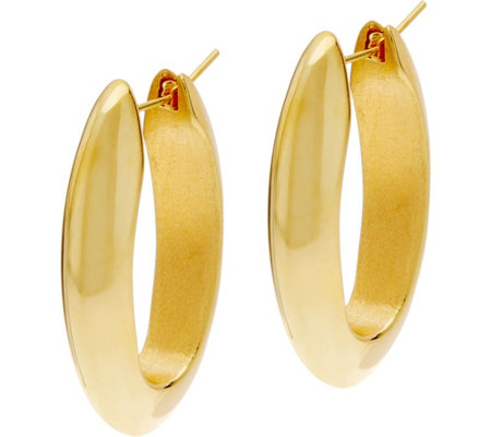 Arte d'Oro Polished Elongated Oval Hoop Earrings 18K Gold