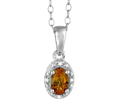 Sterling Oval Gemstone Pendant w/ Diamond Accent & Chain
