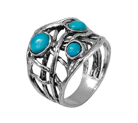 Or Paz Sterling Silver Triple Turquoise Free- Form Band Ring
