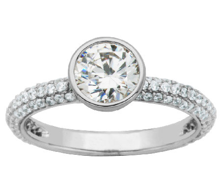 Diamonique Sterling Bezel-Set Round Solitaire S tack Ring