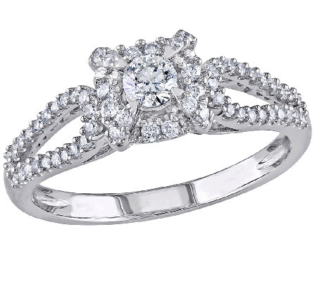 Affinity 1/2 cttw Round Halo Diamond Ring,14K White Gold