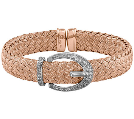 Sterling Crystal Buckle Woven Flexible Cuff