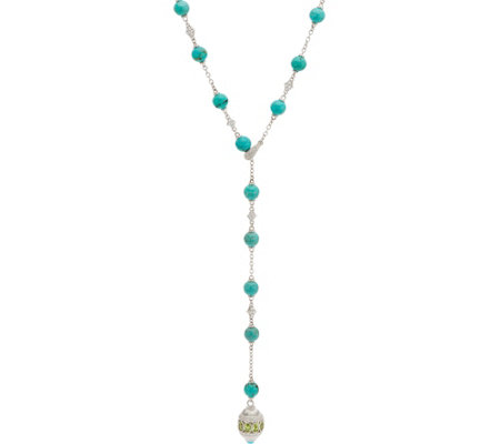 Judith Ripka Sterling Silver Turquoise Bead & Peridot Necklace