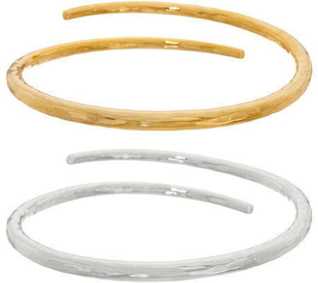 Rlm Bronze Two Tone Set Of Two Hammered Bypass Bangles
