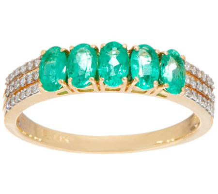 5-Stone Colombian Emerald & Diamond Band Ring, 14K