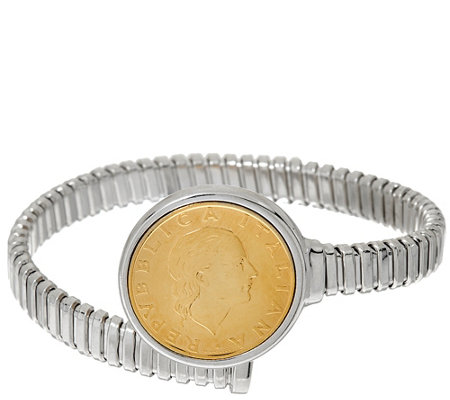 """As Is"" Italian Silver Sterling 200 Lire Coin Tubogas Bracelet, 21.0g"
