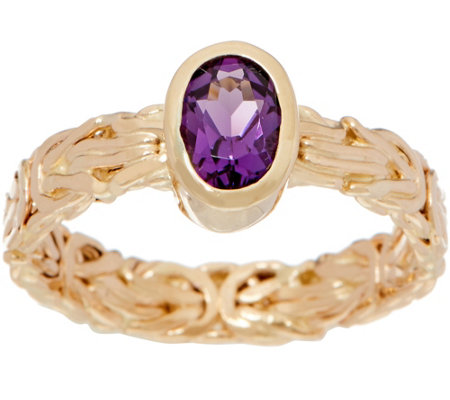 14K Gold Byzantine and Gemstone Band Ring