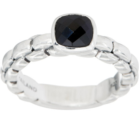 JAI Sterling Silver Gemstone Box Chain Ring