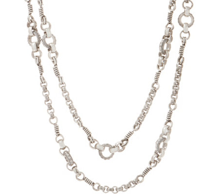 "Stephen Dweck Sterling Silver Signature 36"" Link Necklace 38.0g"