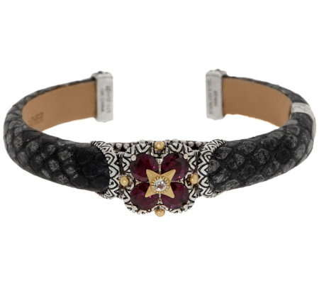 Barbara Bixby Sterling Silver 18k Gold Gemstone Leather Cuff