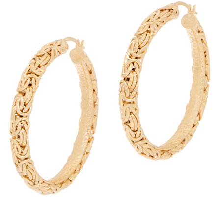 "14K Gold 2"" Bold Byzantine Hoop Earrings"