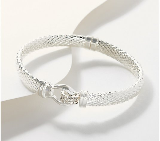 Imperial Silver Textured Bangle w/White Topaz Accents, Sterling Silver