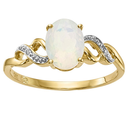 14K Yellow Gold Oval Opal & Diamond Accent Ring
