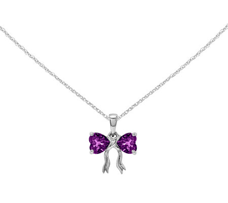 "14K White Gold Gemstone Bow Pendant with 18"" Chain"