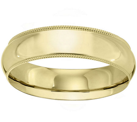 Women's 14K Yellow Gold 6mm Milgrain Wedding Band