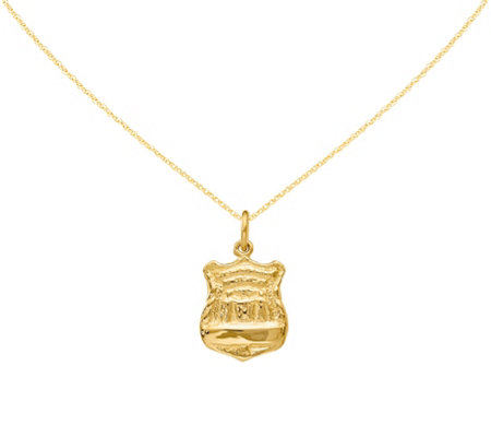 "14K Police Badge Pendant with 18""L Chain"