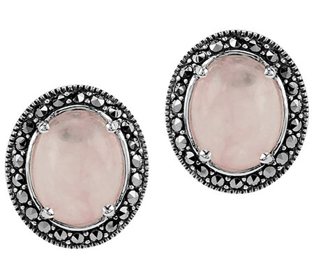 Suspicion Sterling Oval Rose Quartz & MarcasiteStud Earrings