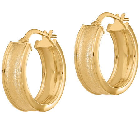 Italian Gold Round Rimmed Hoop Earrings 14k
