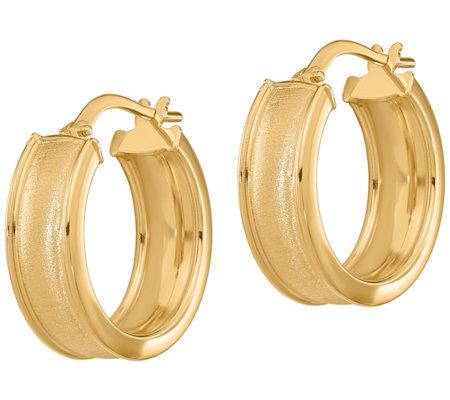 Italian Gold Round Rimmed Hoop Earrings 14k
