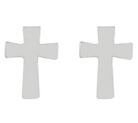 Sterling Silver Polished Petite Cross Stud Earrings