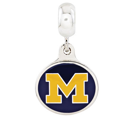Sterling Silver University of Michigan Dangle Bead