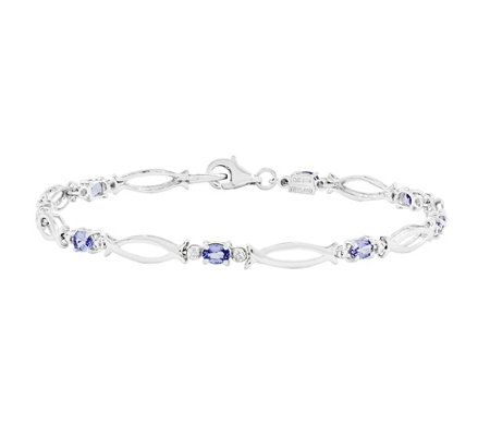 "Sterling 7-1/4"" Oval Gemstone & Diamond AccentTennis Bracelet"
