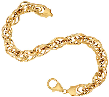 """As Is"" VicenzaGold 8"" Woven Triple Twist Link Bracelet, 5.3g"