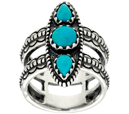 Jennifer Nettles Sterling Silver Double Band Turquoise Ring