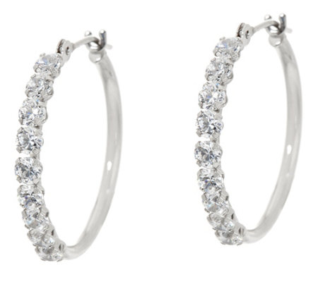 "Diamonique 3/4"" Polished Hoop Earrings, 14K Gold"
