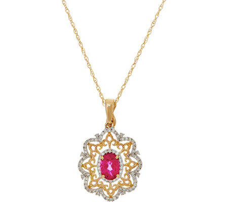 "Rubellite & Diamond Enhancer on 18"" Chain, 14K Gold"