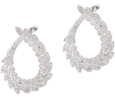 White Diamond Front Back Hoop Earrings, Ster. 1/3 cttw by Affinity