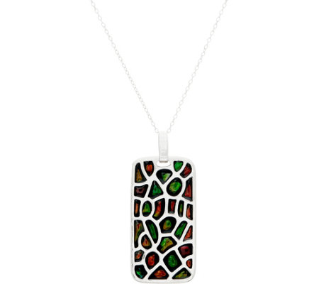 "Ammolite Mosaic Sterling Pendant on 18"" Chain"